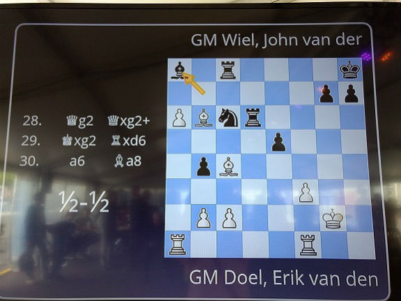 Op het elektronische scherm is de blind partij tussen GM Erik van den Doel en GM John van der Wiel live duidelijk te volgen.