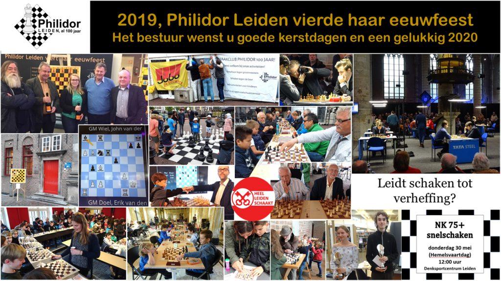 nieuwjaarskaart wens als collage van meerdere foto s van het hondjerjarig bestaan van Philidor Leiden