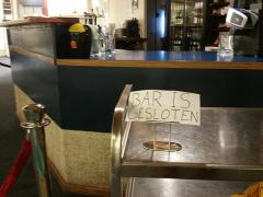 De bar is gesloten in het denksportcentrum Leiden tijdens de clubavond van LSC Philidor.
